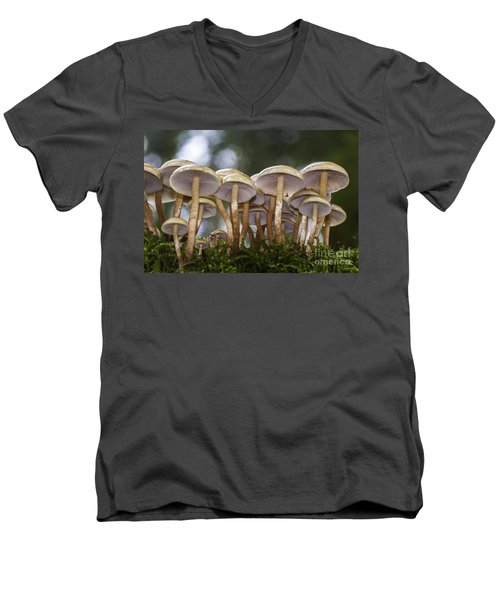 Mushroom Forest Men's V-Neck T-Shirt by Sonya Lang