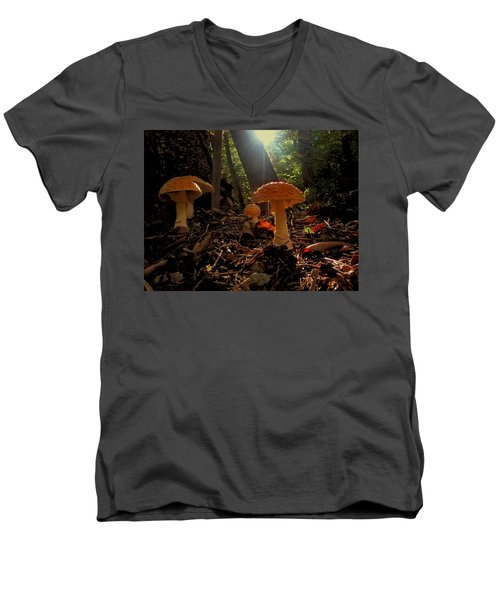 Men's V-Neck T-Shirt featuring the photograph Mushroom Morning by GJ Blackman