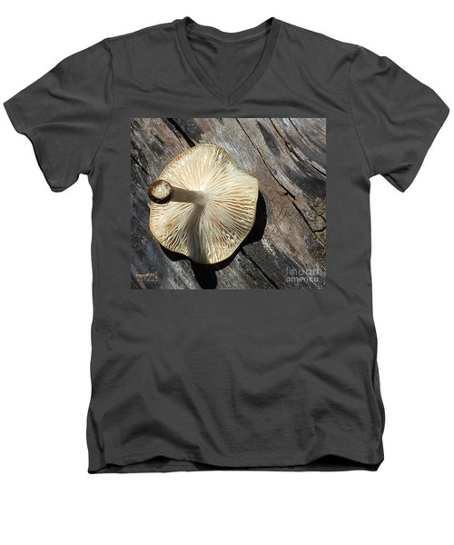 Men's V-Neck T-Shirt featuring the photograph Mushroom On Stump by Tina M Wenger
