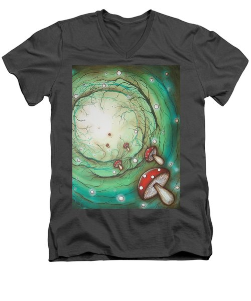 Mushroom Time Tunel Men's V-Neck T-Shirt