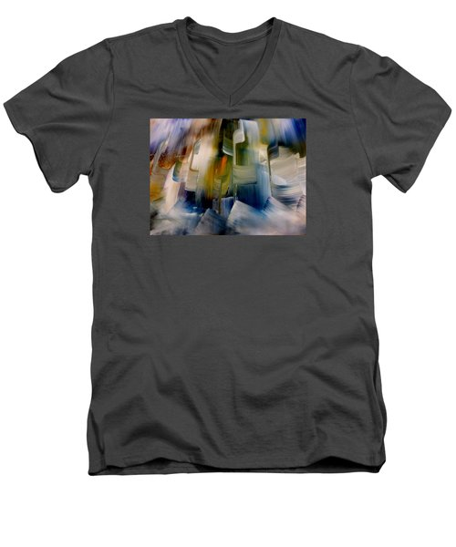 Men's V-Neck T-Shirt featuring the painting Music With Paint by Lisa Kaiser