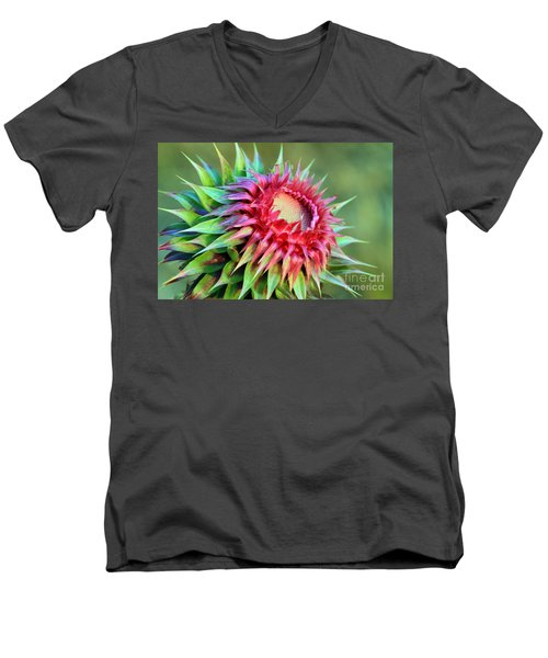 Men's V-Neck T-Shirt featuring the photograph Musk Thistle by Teresa Zieba