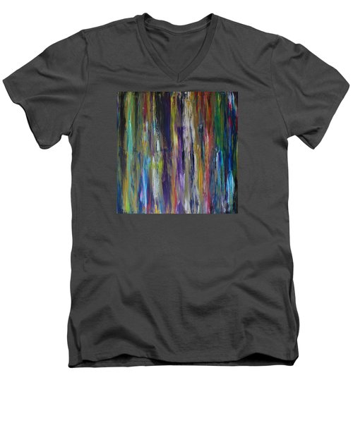 Men's V-Neck T-Shirt featuring the painting Must First Survive Thyself by Michael Cross