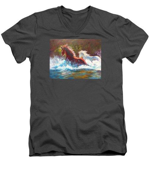 Mustang Splash Men's V-Neck T-Shirt by Karen Kennedy Chatham
