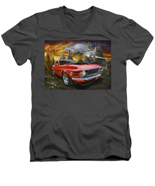 Mustangs 3 Men's V-Neck T-Shirt