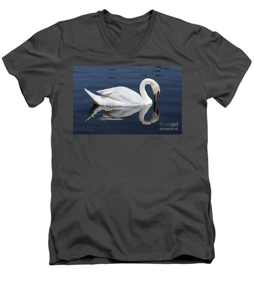 Men's V-Neck T-Shirt featuring the photograph Mute Swan Kissing Its Reflection by Susan Wiedmann