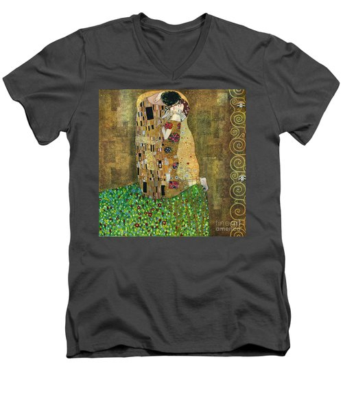 My Acrylic Painting As An Interpretation Of The Famous Artwork Of Gustav Klimt The Kiss - Yakubovich Men's V-Neck T-Shirt by Elena Yakubovich