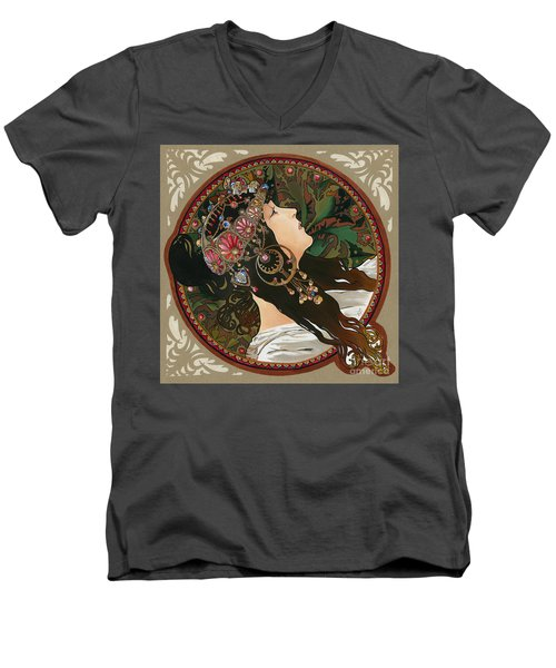 My Acrylic Painting As Interpretation Of Alphonse Mucha - Byzantine Head The Brunette Diagonal Frame Men's V-Neck T-Shirt by Elena Yakubovich