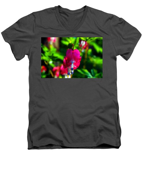 Men's V-Neck T-Shirt featuring the photograph My Bleeding Heart by Peggy Franz