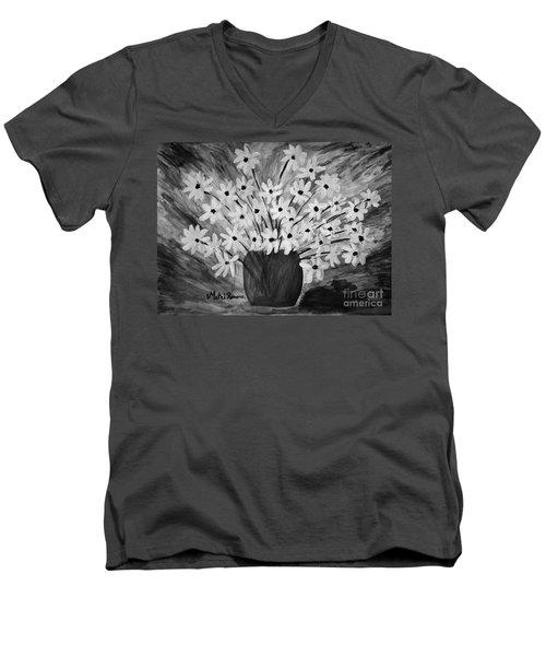 My Daisies Black And White Version Men's V-Neck T-Shirt