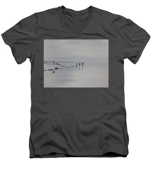 Men's V-Neck T-Shirt featuring the painting My Dreamtime 1 by Tim Mullaney