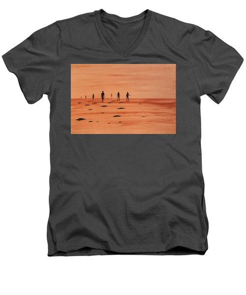 Men's V-Neck T-Shirt featuring the painting My Dreamtime 2 by Tim Mullaney