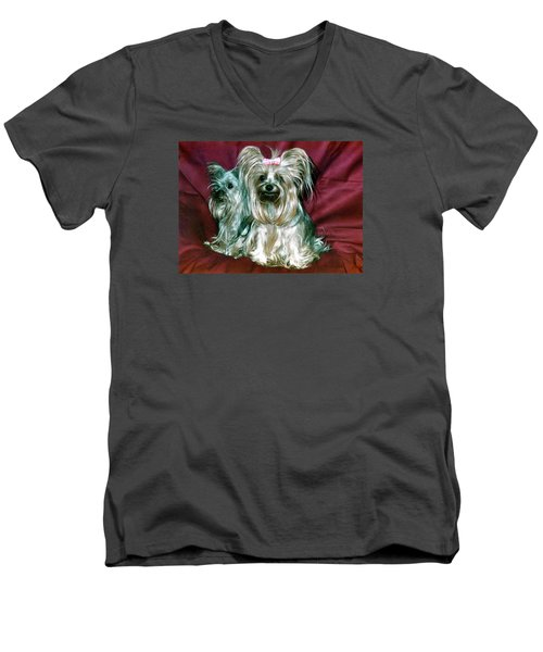 Men's V-Neck T-Shirt featuring the photograph My Friends Yorkies by Phyllis Kaltenbach