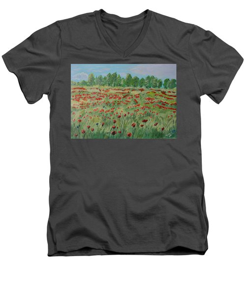 My Poppies Field Men's V-Neck T-Shirt