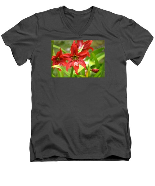 Men's V-Neck T-Shirt featuring the photograph My Red Daylily...after The Rain by Lehua Pekelo-Stearns