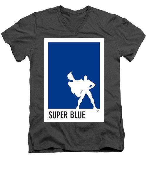 My Superhero 03 Super Blue Minimal Poster Men's V-Neck T-Shirt