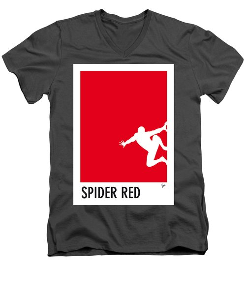 My Superhero 04 Spider Red Minimal Poster Men's V-Neck T-Shirt