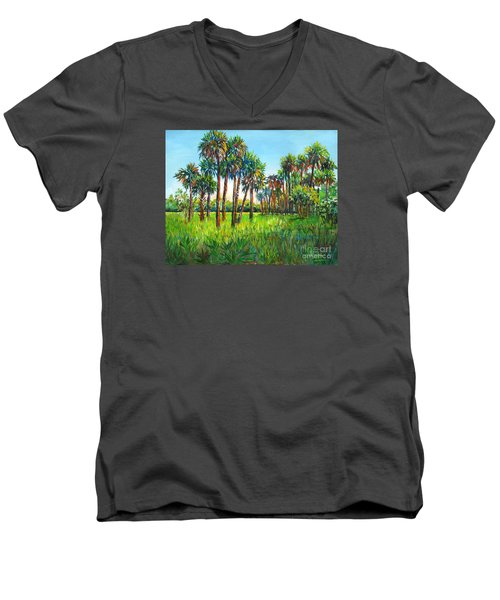 Men's V-Neck T-Shirt featuring the painting Myakka Palms by Lou Ann Bagnall