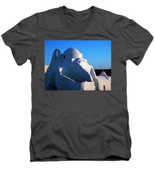 Men's V-Neck T-Shirt featuring the photograph Mykonos Island Greece by Colette V Hera  Guggenheim