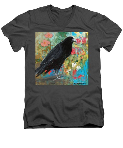 Men's V-Neck T-Shirt featuring the painting Mystery At Every Turn by Robin Maria Pedrero