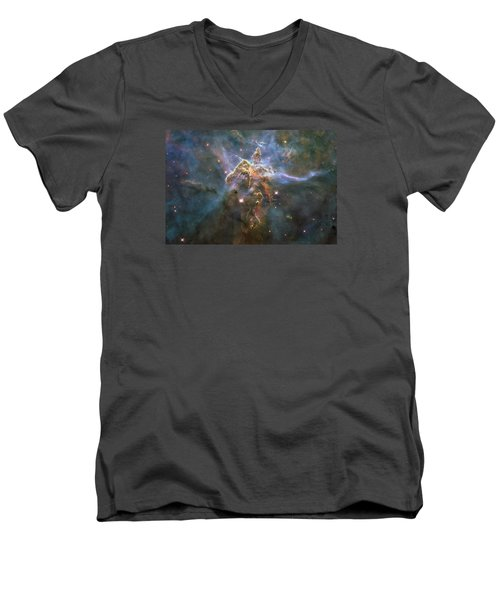 Mystic Mountain Men's V-Neck T-Shirt by Nasa
