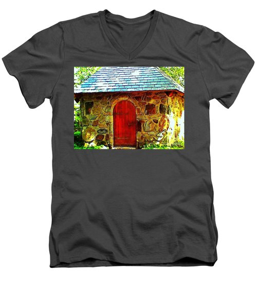 Myth And Mystical Chapel Men's V-Neck T-Shirt by Becky Lupe