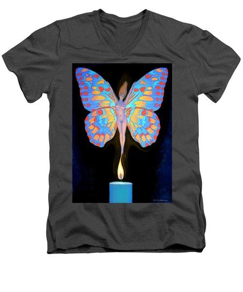 Naked Butterfly Lady Transformation Men's V-Neck T-Shirt