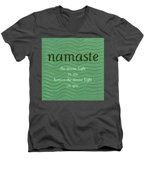Namaste With Blue Waves Men's V-Neck T-Shirt