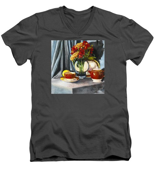 Men's V-Neck T-Shirt featuring the painting The Legacy by Marlene Book