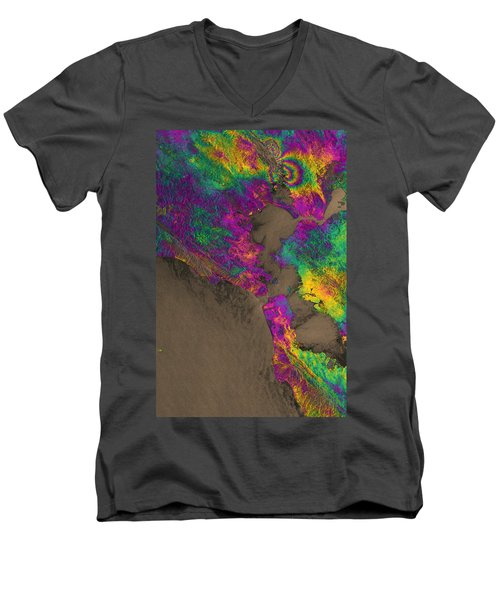 Men's V-Neck T-Shirt featuring the photograph Napa Valley Earthquake, 2014 by Science Source