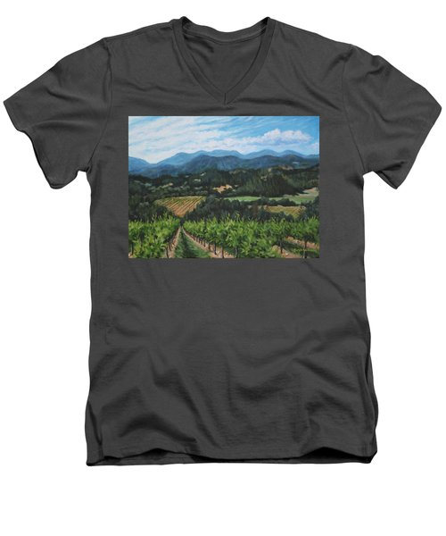 Men's V-Neck T-Shirt featuring the painting Napa Valley Vineyard by Penny Birch-Williams