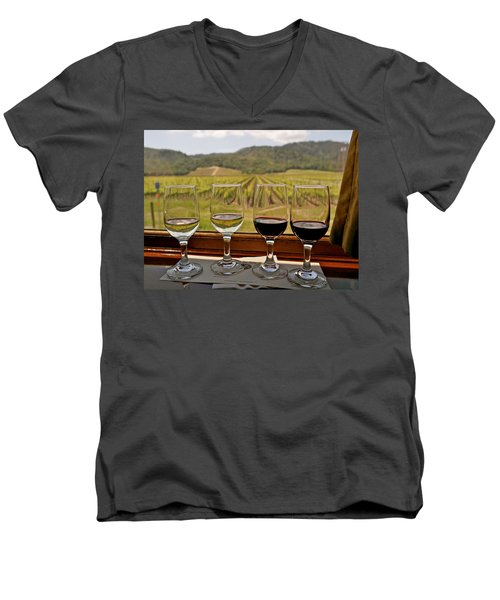 Napa Valley Wine Train Delights Men's V-Neck T-Shirt by Michele Myers