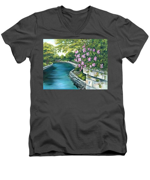 Men's V-Neck T-Shirt featuring the painting Naperville Riverwalk by Debbie Hart