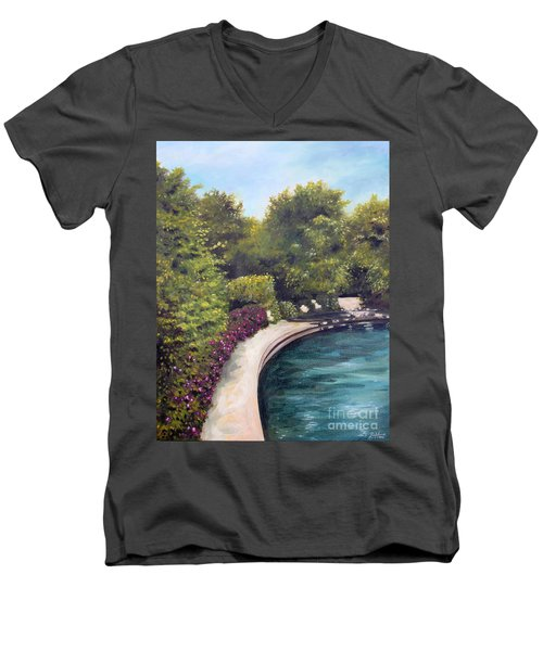 Men's V-Neck T-Shirt featuring the painting Naperville Riverwalk II by Debbie Hart