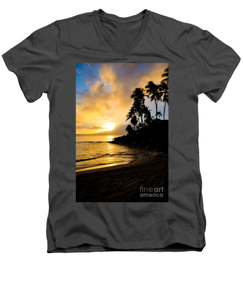 Napili Sunset Evening  Men's V-Neck T-Shirt by Kelly Wade