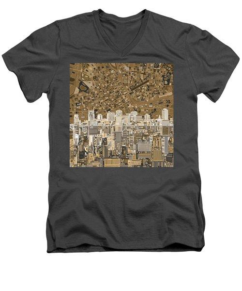 Nashville Skyline Abstract 2 Men's V-Neck T-Shirt by Bekim Art