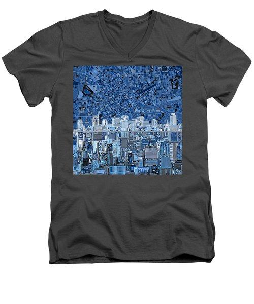 Nashville Skyline Abstract Men's V-Neck T-Shirt by Bekim Art