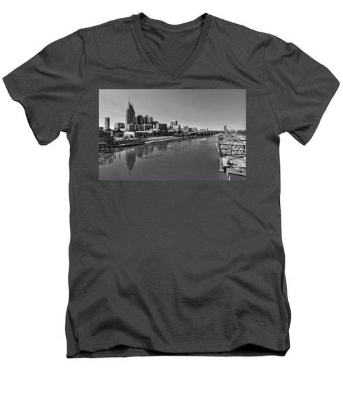 Nashville Skyline In Black And White At Day Men's V-Neck T-Shirt by Dan Sproul