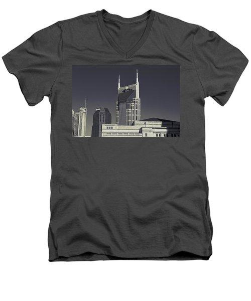 Nashville Tennessee Batman Building Men's V-Neck T-Shirt by Dan Sproul