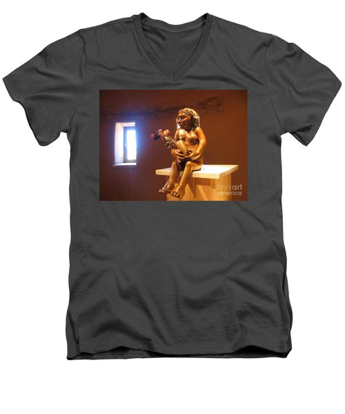 Men's V-Neck T-Shirt featuring the photograph Native American Art by Dora Sofia Caputo Photographic Art and Design