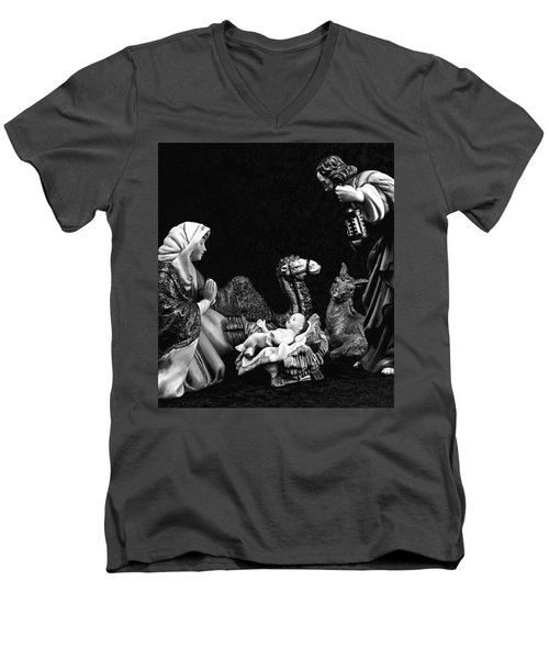 Men's V-Neck T-Shirt featuring the photograph Nativity  by Elf Evans