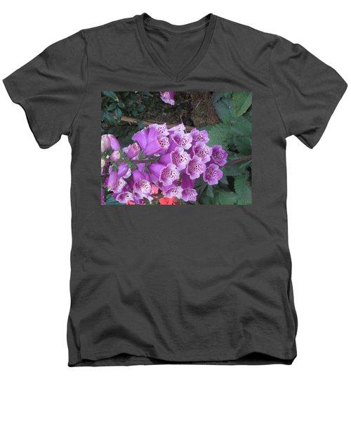 Men's V-Neck T-Shirt featuring the photograph Natural Bouquet Bunch Of Spiritul Purple Flowers by Navin Joshi