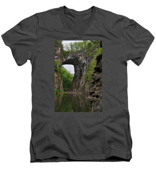 Natural Bridge Men's V-Neck T-Shirt by Lawrence Boothby