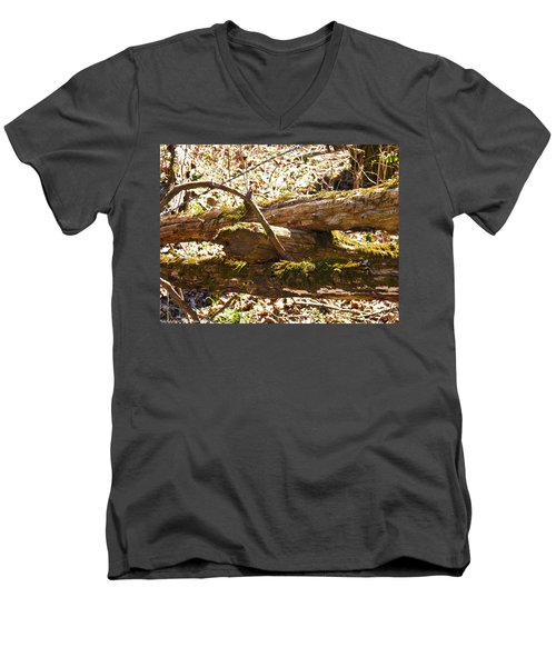 Men's V-Neck T-Shirt featuring the photograph Natures Fence by Nick Kirby