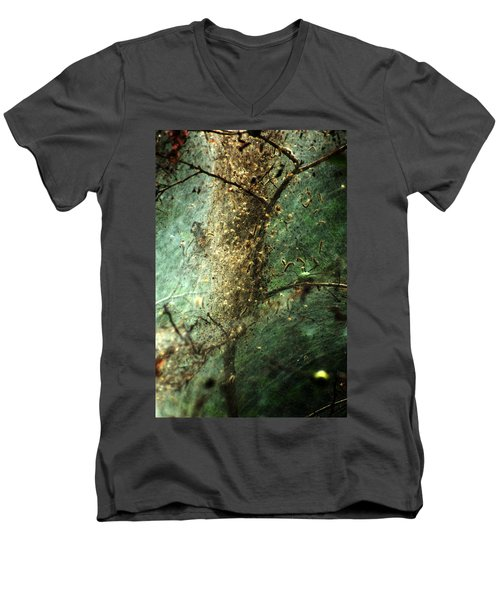 Natures Past Captured In A Web Men's V-Neck T-Shirt