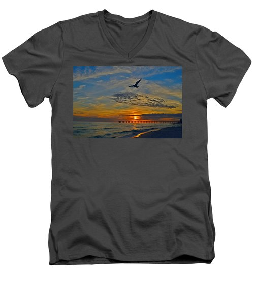 Men's V-Neck T-Shirt featuring the photograph Navarre Beach And Pier Sunset Colors With Gulls And Waves by Jeff at JSJ Photography