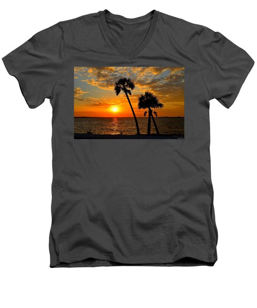 Navarre Beach Bridge Sunrise Palms Men's V-Neck T-Shirt by Jeff at JSJ Photography