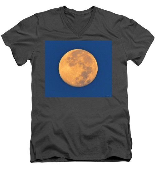 Men's V-Neck T-Shirt featuring the photograph Navarre Beach Full Moon At Sunrise by Jeff at JSJ Photography