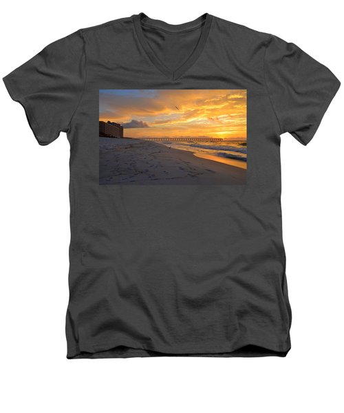 Navarre Pier And Navarre Beach Skyline At Sunrise With Gulls Men's V-Neck T-Shirt by Jeff at JSJ Photography