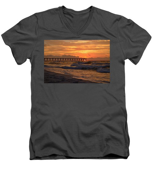 Navarre Pier At Sunrise With Waves Men's V-Neck T-Shirt by Jeff at JSJ Photography